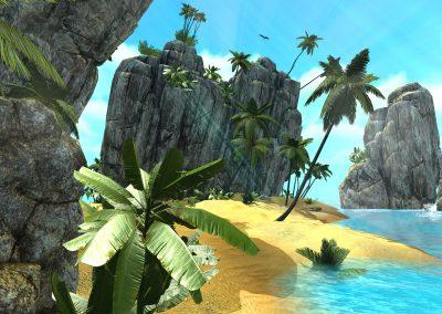 Plage paradisiaque en réalité virtuelle